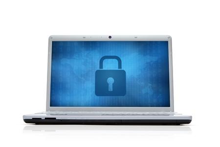 개인 정보 보호: 컴퓨터 모니터에서 인터넷 보안 잠금 흰색 배경에 고립