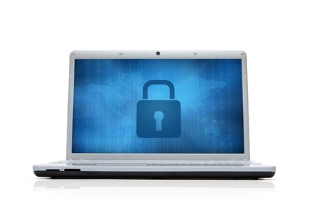 cyber business: Internet security lock at the computer monitor isolated on white background Stock Photo