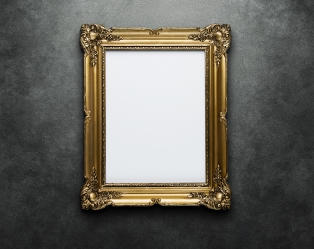 gallery wall: Ornate gold frame at the concrete wall with clipping path for the inside