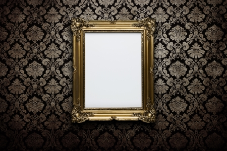 baroque room: Ornate gold frame at grunge wallpaper with clipping path for the inside Stock Photo