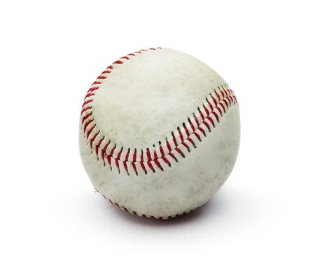 beisbol: Bola de b�isbol de Grunge sucia aisladas sobre fondo blanco