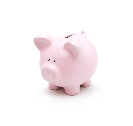 bank crisis: Piggy bank isolated on white background