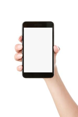 exibindo: M�o da mulher que prende o telefone esperto m�vel isolado no fundo branco Banco de Imagens