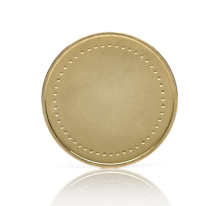Gold coin or medal isolated on white background photo