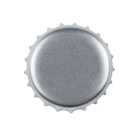 bottle cap opener: Blank silver bottle cap isolated on white background with clipping path