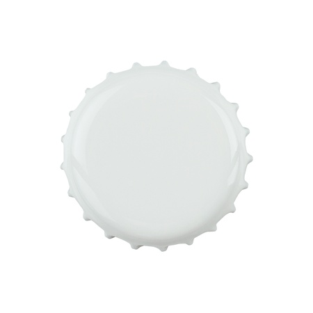 bottle opener: White bottle cap isolated on white background with clipping path Stock Photo