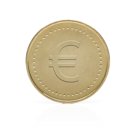 Gold euro coin isolated on white background photo