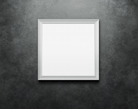 mirror frame: Blank picture frame at the concrete wall with clipping path for the inside
