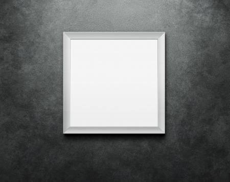 marco espejo marco para fotos en blanco en el muro de hormign con trazado de
