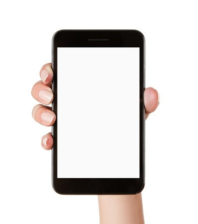 hand holding phone: Female hand holding blank mobile smart phone isolated on white background  Stock Photo
