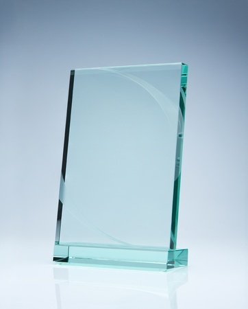 award background: Photo of blank glass award plate with copy space Stock Photo