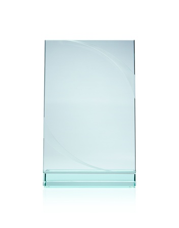 window display: Blank glass plate award with copy space isolated on white background Stock Photo