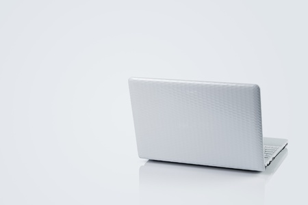 clean cut: Laptop isolated on gray background with copy space Stock Photo