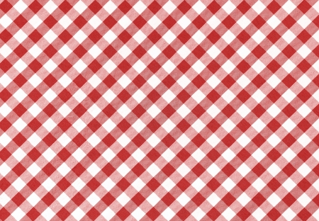 Classic linen red and white checked tablecloth texture with copy space