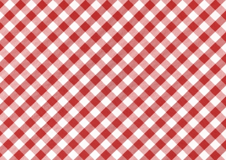 Classic linen red and white checked tablecloth texture with copy space photo