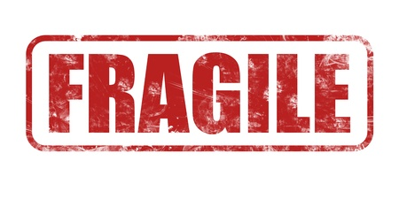 Illustration of fragile stamp isolated on white background