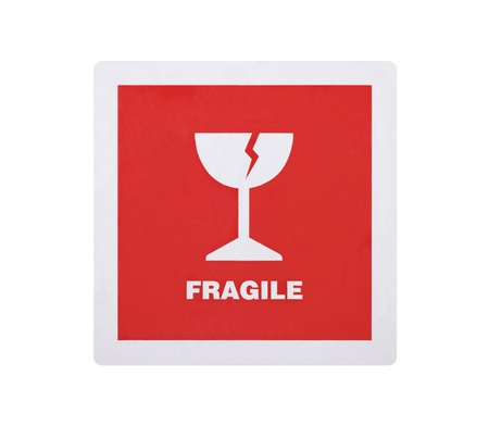 Fragile sticker isolated on white background
