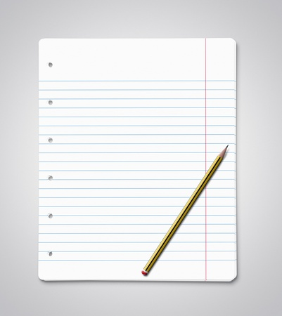 Stack of blank paper sheets with yellow pencil photo
