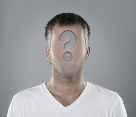Choosing an employee concept, faceless person portrait with question mark Stock Photo - 14743832