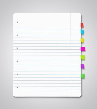 Stack of blank paper sheets with many colorful bookmarks Stock Photo - 14811388