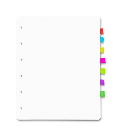 Stack of blank paper sheets with many colorful bookmarks photo