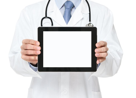 doctor computer: Male doctor holding blank digital tablet isolated on white background with clipping path for the screen