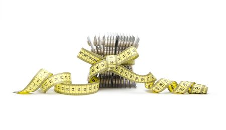 Natural diet pills with tape measure isolated on white background photo