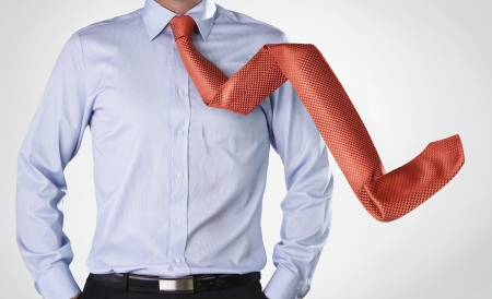 Crisis concept, businessman s tie in decreasing arrow shape