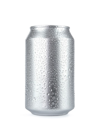 Wet aluminum soda can isolated on white background photo