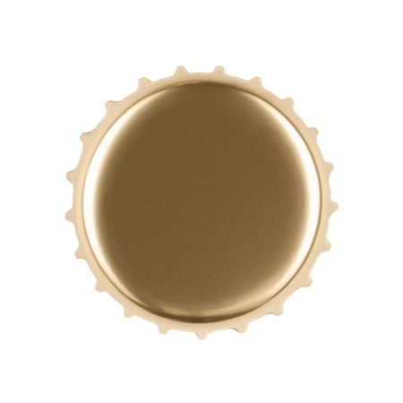 bar top: Blank gold bottle cap isolated on white background   Stock Photo