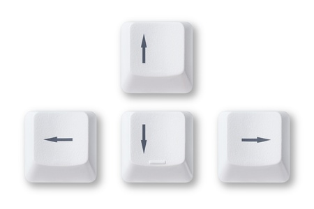 Computer arrow keys isolated on white background photo