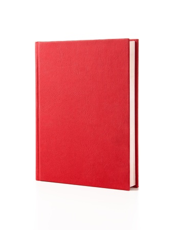 Blank red hardcover book isolated on white background with copy space photo