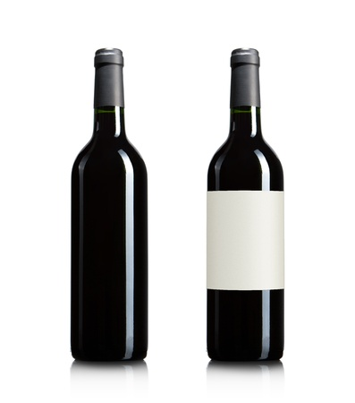 Blank red wine bottles isolated on white background with copy space photo