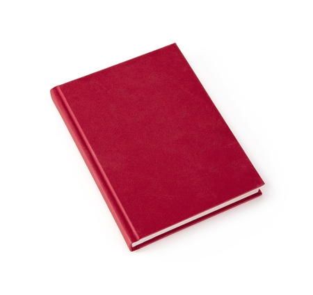 diary cover: Blank red hardcover book isolated on white background with copy space Stock Photo