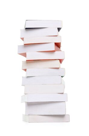 Stack of blank colorful books isolated on white background  photo