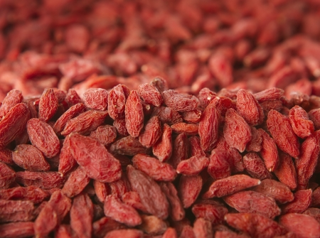 lycii: Close up of dried goji berries with copy space