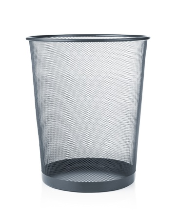 paper basket: Empty trash, garbage bin isolated on white background Stock Photo