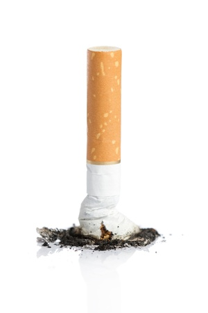 Close up of cigarette  with ash isolated on white background photo