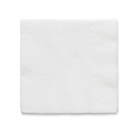 Blank papaer napkin isolated on white background with copy space photo