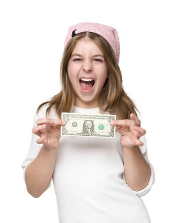 bolsa dinero: Niña Feliz Mostrando Su Dinero de bolsillo aislado por primera vez en el fondo blanco