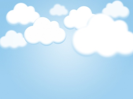 Cartoon sky and clouds background with copy space photo