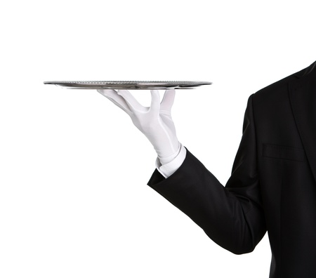 trays: Waiter holding empty silver tray isolated on white background with copy space