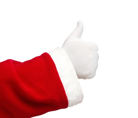 hand showing thumbs up: Santa Claus hand showing thumbs up isolated on white background
