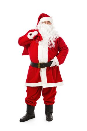 cartoon santa: Santa Claus standing isolated on white background Stock Photo