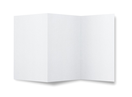 folded paper: Blank paper brochure isolated on white background with copy space