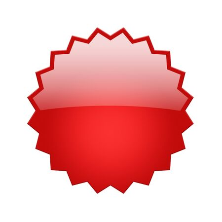 oblong: Red, glossy star shaped button isolated on white background with clipping path