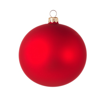 Red christmas ball isolated on white background with clipping path Stock Photo - 16971328