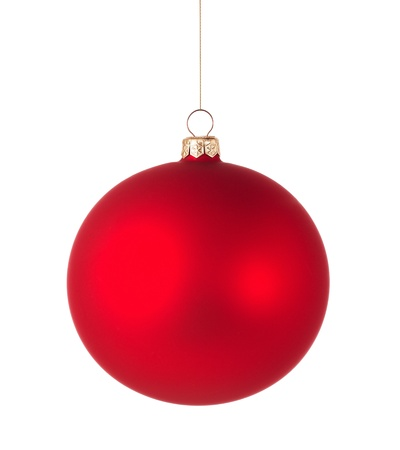 Red christmas ball isolated on white background Stock Photo - 16971136