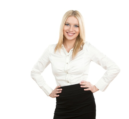 woman boss: Portrait of a friendly smiling businesswoman isolated on white background Stock Photo
