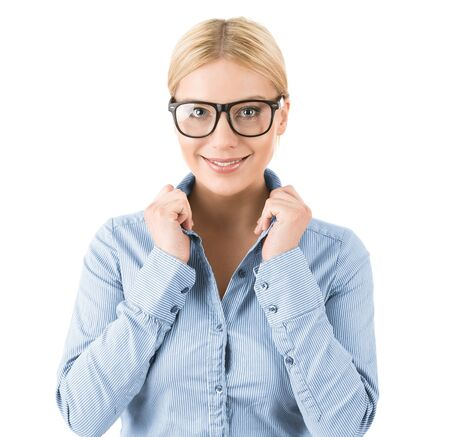 executive assistants: Close up of cute blonde woman with glasses isolated on white background